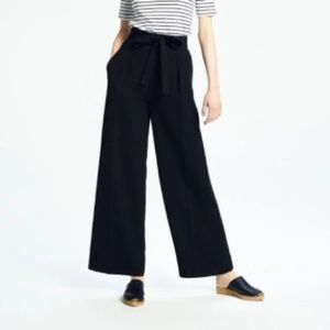 Uniqlo High Waist Ribbon Wide Leg Pants in Navy
